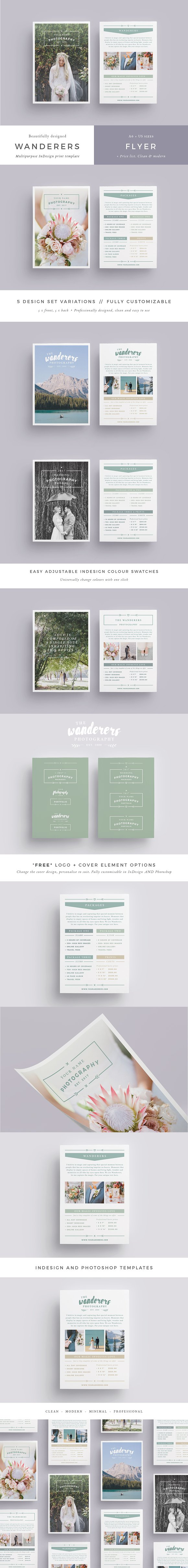 wanderers wedding flyer price list flyer templates creative market
