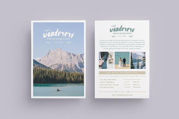 WANDERERS Wedding Flyer Price List
