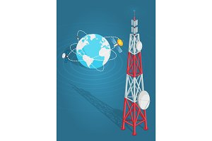 Communications Satellites Transmits to High Tower