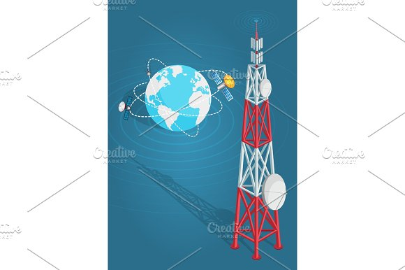 Communications Satellites Transmits to High Tower in Illustrations