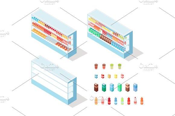Milky Food In Groceries Showcase Isometric Vector