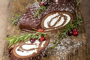 Chocolate filled Yule log