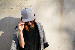 Female model wearing blank gray cap
