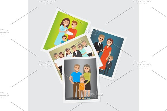 Happy Family Group Portraits Vectors Set