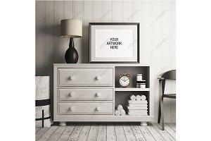 Poster Frame Mockup White Dresser
