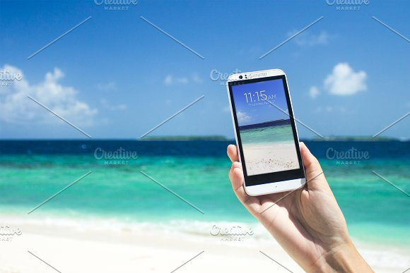 Android Smartphone Mockup Beach