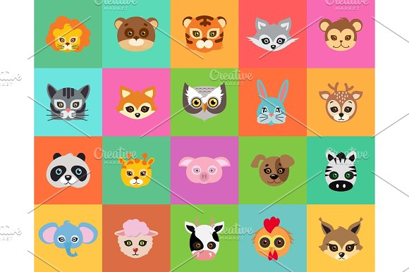 Animal Carnival Collection Of Cartoon Masks