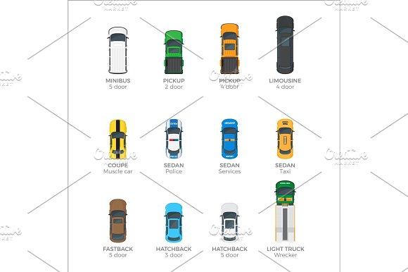 Modern Vehicle Transport Top View Vector Icons Set