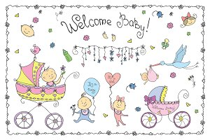 Welcome baby cute set