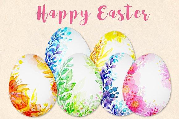 Decorative Watercolor Easter Eggs