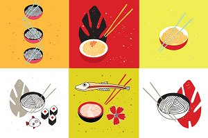 Noodles collection Asian food set
