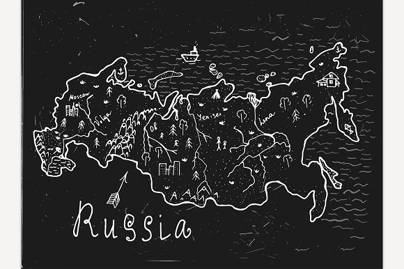 Hand Drawn Russia Map
