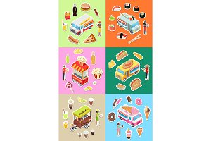 Set of Street Fast Food Eatery on Wheels Vectors