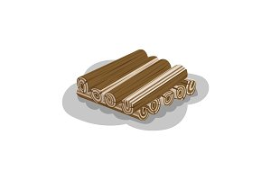 Stacked Wood Isolated Vector. Firewood Elements