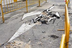 damaged road highway