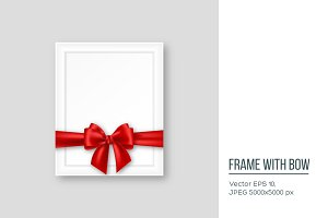 3D realistic picture frame with red bow.