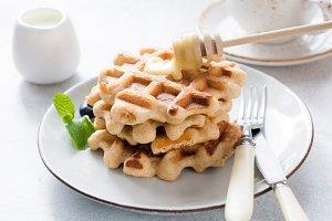 Belgian waffles with honey