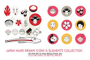 Japan icons & design elements set