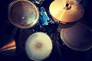 Drums in retro style. Music concept.