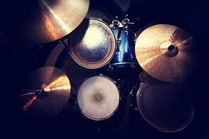 Drums and cymbal. Music concept.