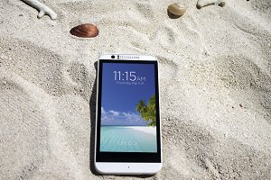 Android Smartphone, Mockup, Beach