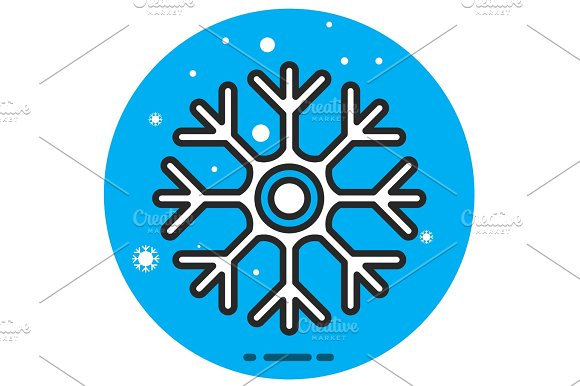 Vector Icon Of Cold Sign Depicting Snowflake