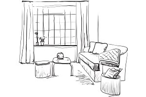 Room interior sketch