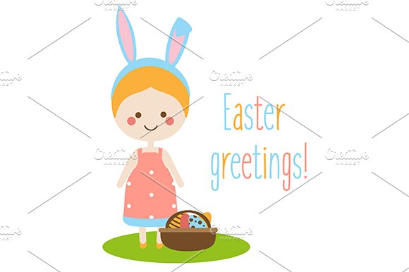 Easter Greetings Card With Cute Girl