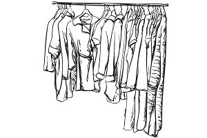 Clothes on the hangers. Sketching