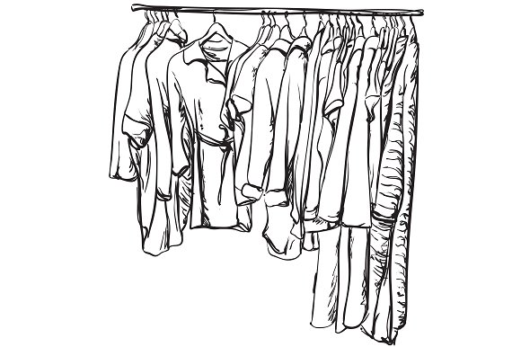 Clothes On The Hangers Sketching