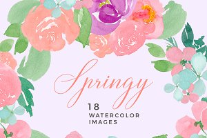Spring Watercolour Flowers Clip Art