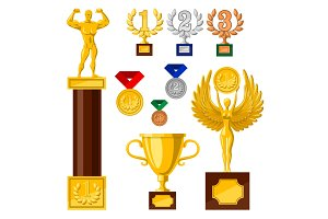Set of awards, ,edals cups golden statues, nike strong man, woman with wings