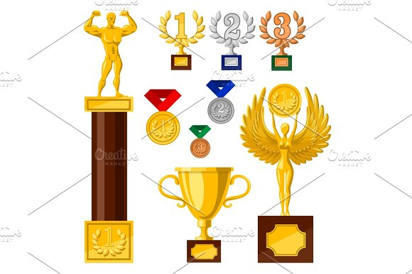 Set Of Awards Edals Cups Golden Statues Nike Strong Man Woman With Wings