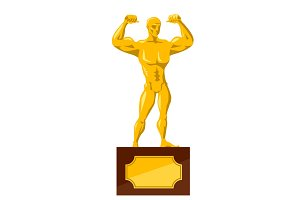 Strong man gold statue