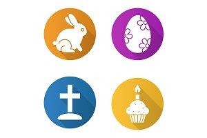 Easter. 4 icons. Vector