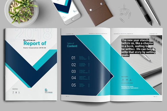 Annual report template brochure templates creative market annual report template brochures friedricerecipe Gallery