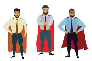 Set three business superhero