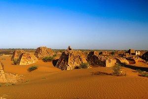 Panorama of Meroe pyramids in the desert Sudan,