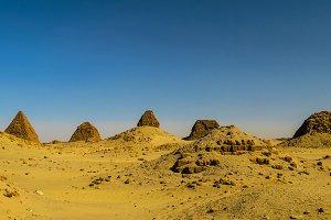 Nuri pyramids in desert, Napata Karima region Sudan