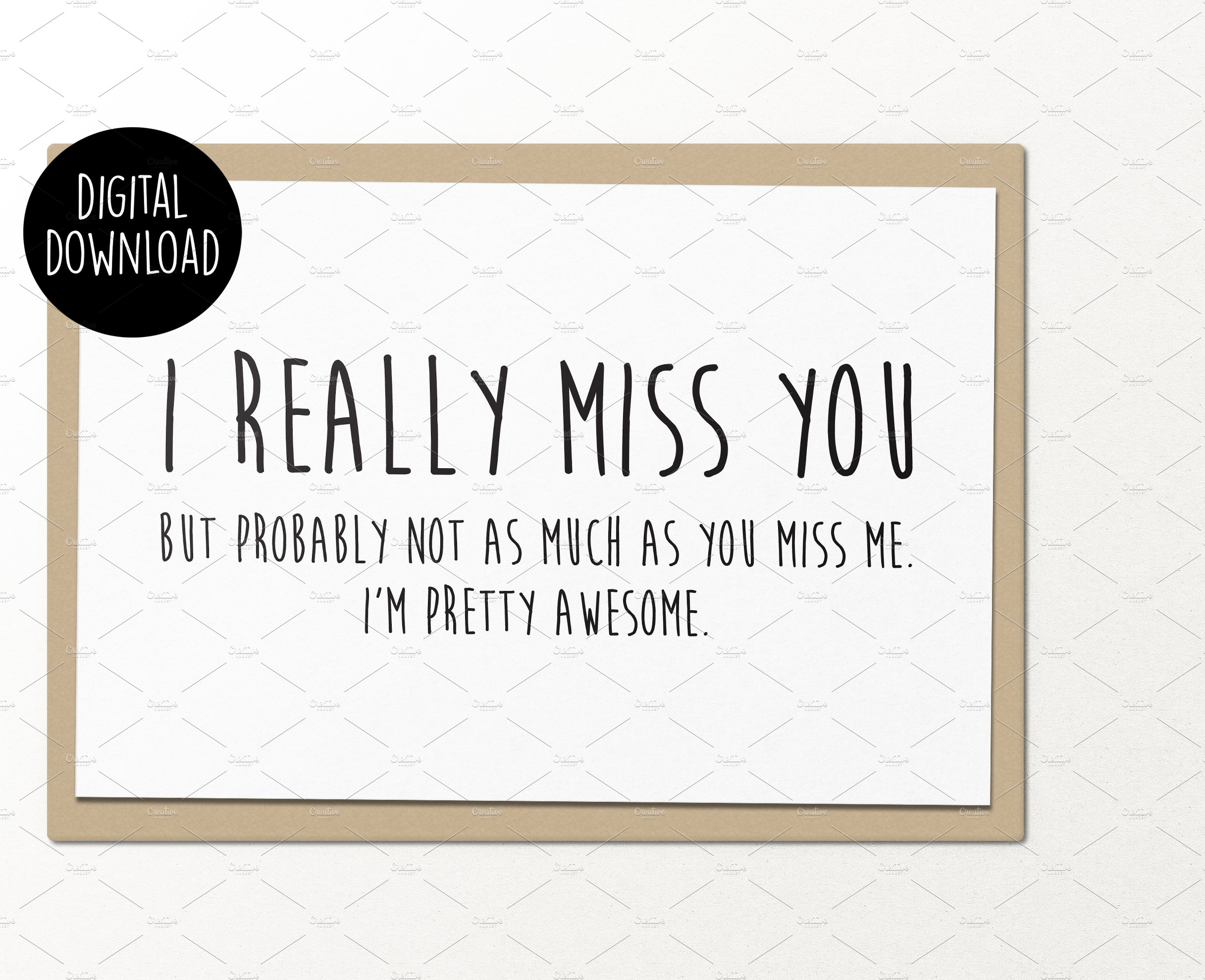 Selective image inside printable miss you cards