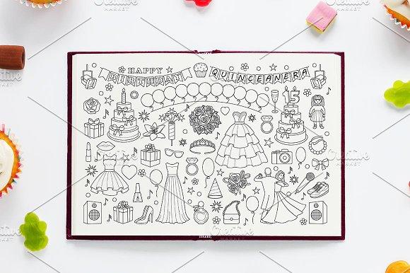 Girl Birthday Set Seamless Patterns