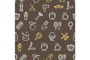 Barber Shop Pattern Background.