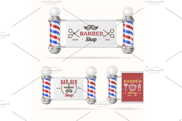 Barber Shop Sign Set With Pole
