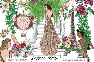 Fashion Girl Paris Floral Clip Art