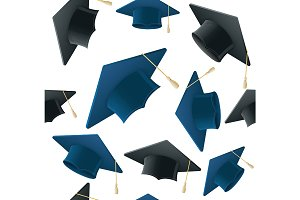 Student Hat Pattern Background.