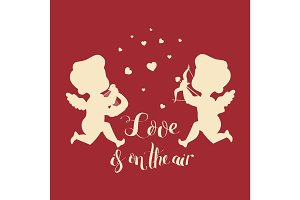 Cupids silhouettes. One with harp. Second has bow and arrow and