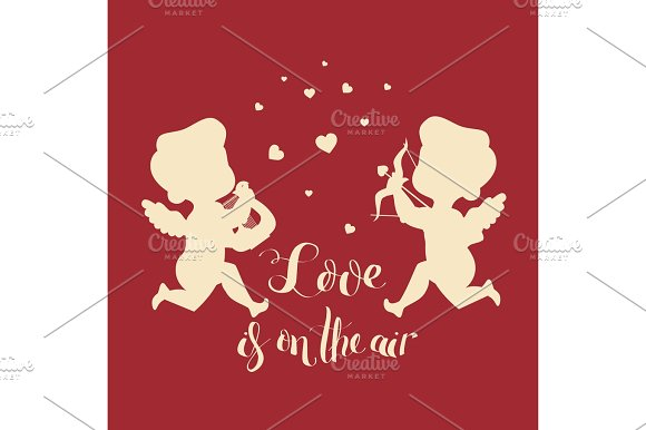 Cupids Silhouettes One With Harp Second Has Bow And Arrow And