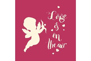 Cupid Love silhouette with bow and arrow and Love is on t