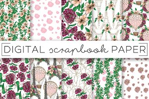 Pink Peach Paris Digital Papers