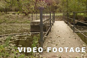 Small concrete bridge in the park. Autumn daytime. Smooth dolly shot